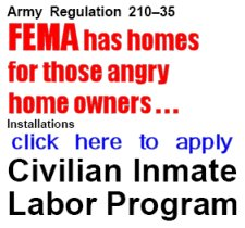 Click here to read about the Civilian Inmate Labor Program. It's their way of securing the border ... within the border. It's time to WAKE UP !