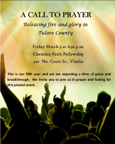 A CALL TO PRAYER - Releasing Fire & Glory in Tulare County
