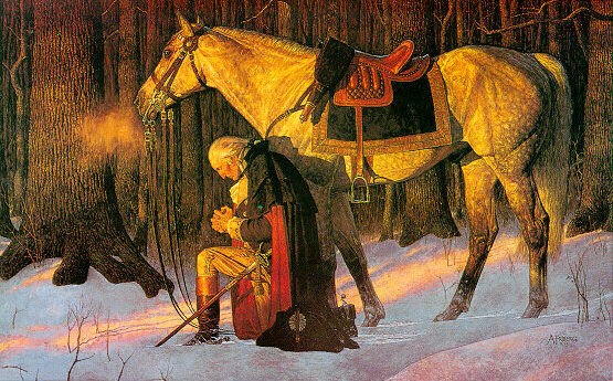 George Washington praying for America
